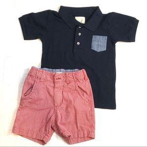 Peek Boys Navy Polo and Red Shorts sz 2-3 xs